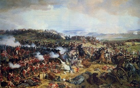 The charge of the French Cuirassiers at the Battle of Waterloo against a square of Scottish Highlanders