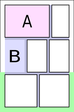 A typical comics page layout..mw-parser-output .legend{page-break-inside:avoid;break-inside:avoid-column}.mw-parser-output .legend-color{display:inline-block;width:1.5em;height:1.5em;margin:1px 0;text-align:center;border:1px solid black;background-color:transparent;color:black;font-size:100%}.mw-parser-output .legend-text{font-size:95%}  A is a panel  B is a borderless panel  are the gutters  is a tier