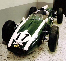 This standard Cooper-Climax T53 F1 was donated to the IMS by Jim Hall in 1969. It is painted to look like Jack Brabham's 1961 Cooper-Climax T54, the car that began the rear-engine revolution at the Indianapolis 500. The real car is displayed at the Marconi Automotive Museum in Tustin, California.