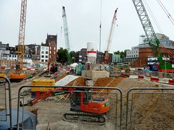 Construction of Crossrail at Tottenham Court Road in September 2011