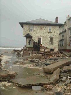 Damage from Hurricane Sandy to a house in Brooklyn, New York.