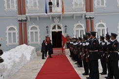 Honorary Guard of the Army of Montenegro in the state protocol, Blue Palace residence of President of Montenegro in Cetinje.