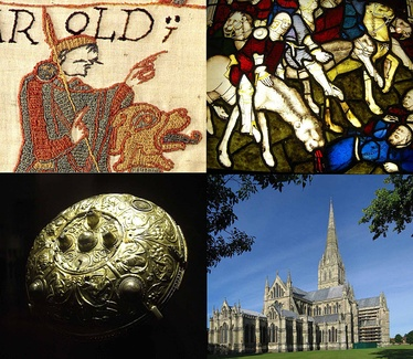 Clockwise, from top left: Detail of the 11th-century Bayeux Tapestry, showing Harold Godwinson; 15th-century stained glass from York Minster, showing a scene from the Apocalypse; Salisbury Cathedral, built in the 13th century; the 9th-century Ormside Bowl