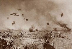 Vintage manipulated photo of World War I battle action including details combined from multiple photos.