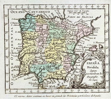 A map of Iberia in 1757