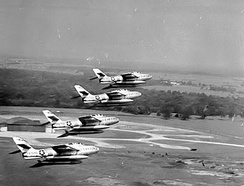 F-84Fs from the 7108th Tactical Wing over Chaumont-Semoutiers Air Base, France – 1962.