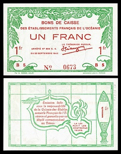 A one-franc World War II banknote (1943), printed in Papeete, depicting the outline of Tahiti on reverse