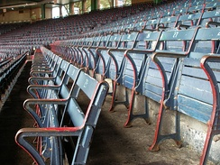 The old wooden seats of Fenway's Grandstand section.