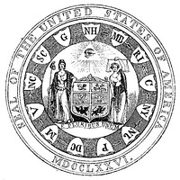 Interpretation of the first committee's seal proposal, made by Benson Lossing in 1856.  The obverse drawing is slightly incorrect; the linked state initials should be on the shield itself.