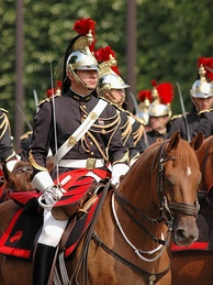 Republican Guards parading on Bastille Day