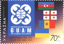 70-kopeck Ukrainian postage stamp commemorating the GUAM Summit held in Kyiv, 22–23 May 2006.