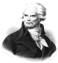"According to a biographer, ""Danton's height was colossal, his make athletic, his features strongly marked, coarse, and displeasing; his voice shook the domes of the halls"".[7]"