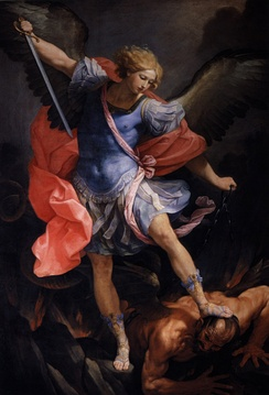 Guido Reni's Archangel Michael tramples Satan (c. 1636, in the Capuchin church of Santa Maria della Concezione, Rome).