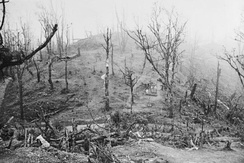 View of the Garrison Hill battlefield, the key to the British defences at Kohima