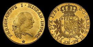 Ferdinand I of the Two Sicilies (aka Ferdinand III of Sicily and Ferdinand IV of Naples) depicted on a Duchy of Parma, 8 Doppie (1791) gold coin