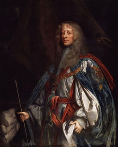Ormond as Knight of the Garter, wearing the collar and the mantle. The hat with its ostrich feathers appears behind his right hand. Painted by Sir Peter Lely (c. 1665).