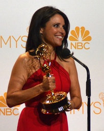Louis-Dreyfus after receiving her third Primetime Emmy Award for Outstanding Lead Actress in a Comedy Series for Veep in August 2014
