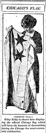 Kitty Kelly holding Flag of Chicago[8] from the Chicago Tribune, 1921. Note the two stars on the flag at the time.
