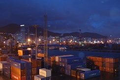 Containers waiting at the South Korean port of Busan.