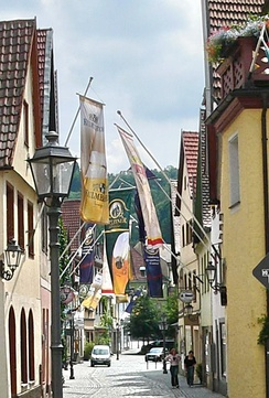 Flags in Kulmbach's Altstadt during the beer festival