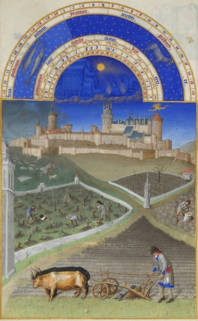 Ploughing on a French ducal manor in MarchLes Très Riches Heures du Duc de Berry, c.1410