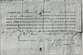 An honorable discharge signed by Lincoln for a private under his command.
