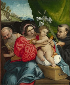 The Virgin and Child with Saints Jerome and Nicholas of Tolentino by Lorenzo Lotto