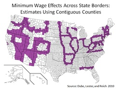 A 2010 study published in the Review of Economics and Statistics compared 288 pairs of contiguous U.S. counties with minimum wage differentials from 1990 to 2006 and found no adverse employment effects from a minimum wage increase. Contiguous counties with different minimum wages are in purple. All other counties are in white.[75]