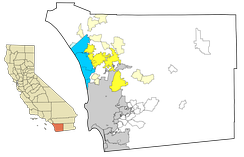 North County communities. Coastal cities are in dark blue, unincorporated coastal communities are in light blue. Inland cities are in dark yellow, unincorporated inland communities are in light yellow. Parts of northern San Diego are sometimes considered part of North County, as are much of the white areas north of the city.