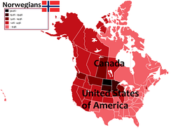 A map of North America, with the percentage of Canadians and Americans of Norwegian descent in each province, territory and state in Canadian and the U.S.