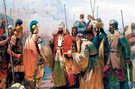 Painting of Atropates, meeting with Alexander the Great. Historical Azerbaijan (also known as Iranian Azerbaijan) is believed to be named after him.