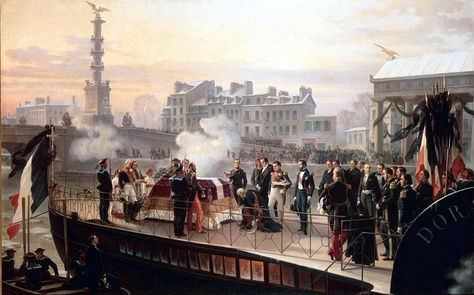 "Arrival of ""la Dorade"" at Courbevoie on 14 December 1840, 1867 by Henri Félix Emmanuel Philippoteaux. Château de Malmaison"