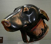 Ancient Greek rhyton serving vessel in the shape of a dog's head, made by Brygos, early 5th century BC. Jérôme Carcopino Museum, Department of Archaeology, Aleria