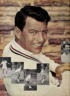 Richard Egan playing tennis (1956)