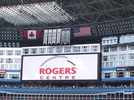 World Series banners above the Rogers Centre videoboard