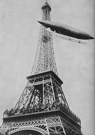 No. 5 rounding the Eiffel Tower during an unsuccessful try for the Deutsch Prize