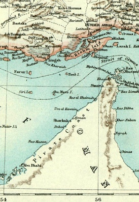 An 1892 map of Arabia denoting the Pirate Coast. The term was first used by the British around the 17th century and acquired its name from the raiding activities that Al Qawasim pursued against the British. The charge of piracy has been disputed by historians and archivists in the UAE in particular. The counter-argument is that the Al Qasimi were the subject of British aggression in an attempt to stamp its authority on trade routes thought of as important to Iraq and India.[1]