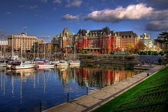 The Inner Harbour and The Empress Hotel (centre background), two major attractions in Downtown.