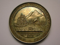 A medallion showing the Capture of Trinidad and Tobago by the British in 1797.