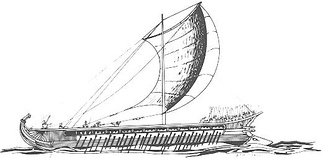 An ancient Greek trireme vessel