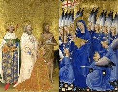 The Wilton Diptych, showing Richard venerating the Virgin and Child, accompanied by his patron saints: Edmund the Martyr, Edward the Confessor, and John the Baptist. The angels in the picture wear the White Hart badge. National Gallery, London.