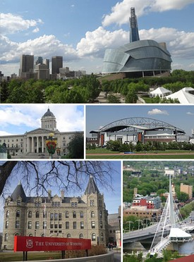 Clockwise from top: Downtown featuring the Canadian Museum for Human Rights, IG Field, Saint Boniface and the Esplanade Riel bridge, Wesley Hall at the University of Winnipeg, Manitoba Legislative Building.