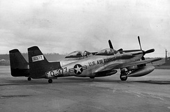 F-82H Twin Mustang 46-377 at the end of the line, Elmendorf AFB, fall 1953