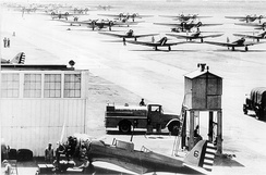 Northrop A-17As and Martin B-10s on the flightline.