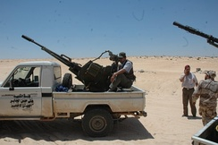 A ZU-23-2 technical used by the forces of the National Transitional Council during the Libyan civil war, in October 2011.