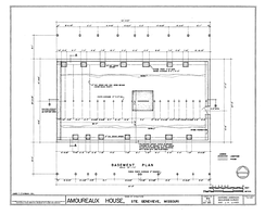 Measured drawing showing basement plan and structural foundations of the Amoureaux House in Ste. Geneviève, Missouri