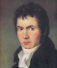 Ludwig van Beethoven: detail of an 1804–05 portrait by Joseph Willibrord Mähler. The complete painting depicts Beethoven with a lyre-guitar.