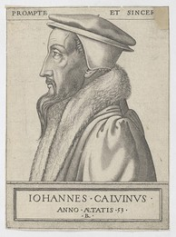 John Calvin at 53 years old in an engraving by René Boyvin