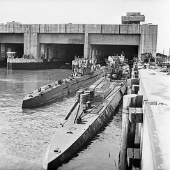 Captured Type VII and Type IX U-boats outside their pen in Trondheim, Norway, 19 May 1945.