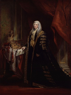 Charles Pepys as Lord Chancellor. The Lord Chancellor wore black and gold robes whilst presiding over the House of Lords.